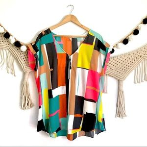 GIBSON LATIMER Neon Color Block Zip Tunic Blouse